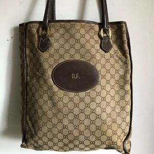 GUCCI Large Canvas Monogram Tote Bag With Initials